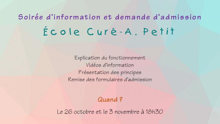 Séances d'information et d'admission 26 octobre et 3 novembre 2020